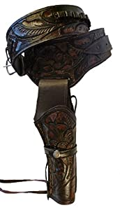 Western Cowboy Gun Belt Holster Rig - High Quality Real Leather Holster - Great Gift