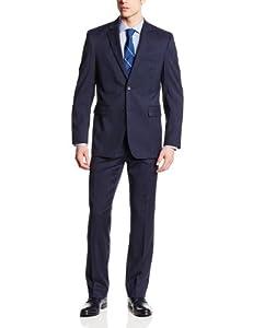 B00HA0M0YW Nautica Men's 2 Button Side Vent Classic Fit Plaid Suit with Flat Front Pant, Blue, 38 Short