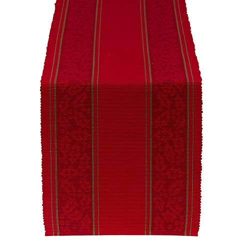 Design Imports DII Holiday Table Runner (Holly Stripe Jacquard Table Runner - 14 x 72) ()