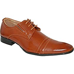 SHOE ARTISTS Leather Lined Men's Lace Up Oxfords, Brown, Size 8