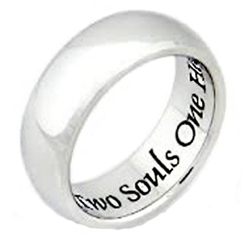 Stainless Steel Two Souls One Heart Mens and Womens Poesy Rings ()