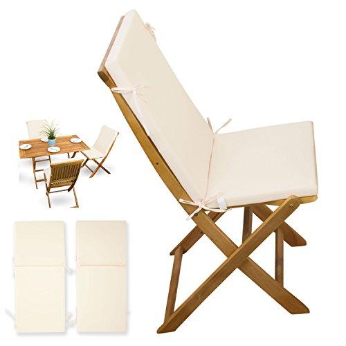 2-tlg-Auflagen-Set-creme-weiss-fr-Holzmbel-Gartenmbel-Sets-Gartenstuhl-Klappstuhl-2x-Sitz-Auflagen-mit-Rckenteil