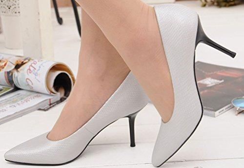 Wedding Toe Satin Silver Bride Job Bridesmaid Pumps OL ladies Stiletto Heeled Party Pointed 1070 Comfort Work Salabobo Cone XqfAnf