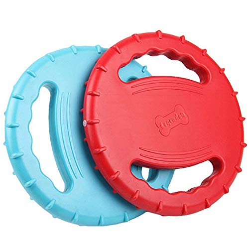 Legendog 2 Pcs Flying Disc, Squeaky Rubber Dog Toys Soft Flying Disc Dog Catcher Toy for Pet Training & Chewing (Flying Through The Night Floating On The Wind)
