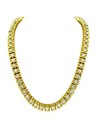 """Diamond Tennis Necklace 20.0 CT Solitaire 10k Real Gold 28"""" 7mm Pyramid Link Chain"""