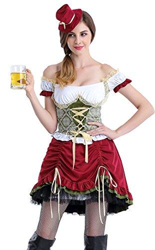COSWE Adult Beer Garden Girl Fancy Dress Oktoberfest Costume for Women -