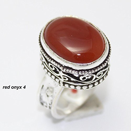 Red onyx Ring Silver Overlay Fashion Jewellery Handmade Jewelry Vintage Antique Designer Statement Prom Bridal 7.75 US Size Gift Sale. ()