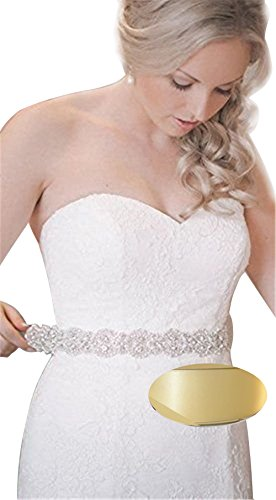 QueenDream Silver Crystal Beaded Ivory Satin Bridal Sash Wedding Belt for Bride