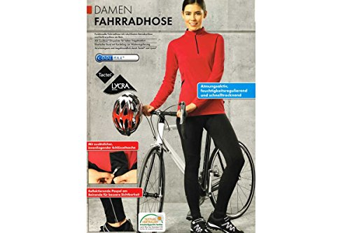 Damen Fahrradhose Schwarz Lang - COOLMAX® Tactel® Lycra® (S [36/38])