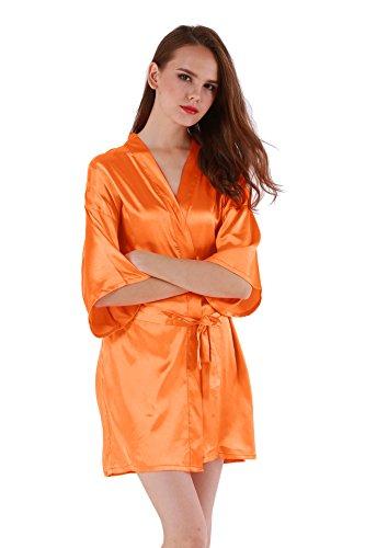 Vogue Forefront Women's Satin Plain Short Kimono Robe Bathrobe, X-Large, Orange ()