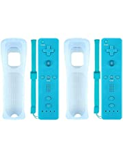 Wii Remote Controller (2 Packs) for Nintendo Wii&Wii U Video Game Gamepads(No Motion Plus). (Blue)