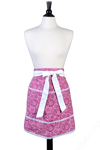 Grandmas Old Fashioned - ON SALE 40% OFF- Womens Cute Waist Apron - Pink Bandana Country Print with White Lace Trims - Two Large Lined Pockets Vintage Style