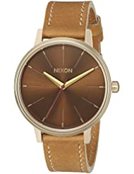 Nixon Womens Kensington Quartz Stainless Steel and Leather Casual Watch, Color Gold-Toned (Model: A1082804)