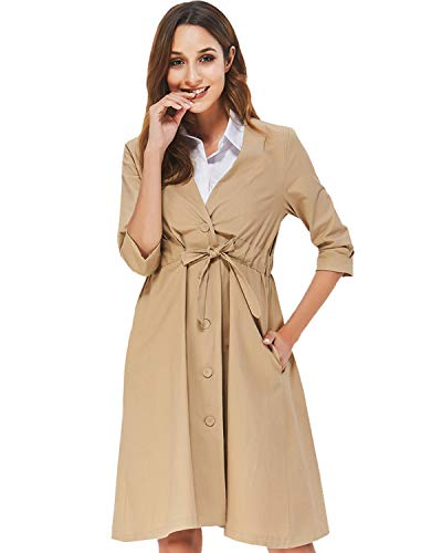 Cream Ladies Wind Jacket - Noblemoon Women Slim Long Trench Coat Windbreaker Ladies Single-Breasted Belted Jacket Outwear with Pockets Cotton (Medium, Khaki)