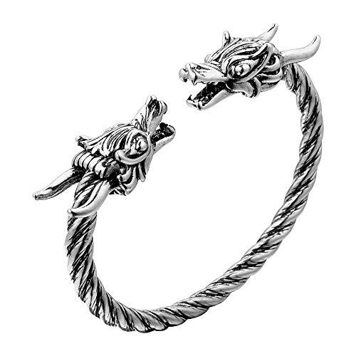 RUIZHEN Antique Norse Viking Double Dragon Head Twisted Bracelet Bangles Arm Ring Adjustable Men's Jewelry (Silver-2) - Head Dragon Bracelet
