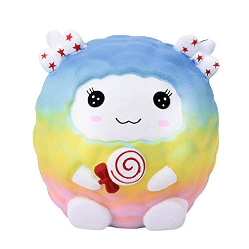 (callm Slow Rising Easter Bunny Squishies Kawaii Animals Squishy Slow Rising Cream Scented Charms Stress Reliever Toys for Kids and Adults (Rainbow Sheep❤️))