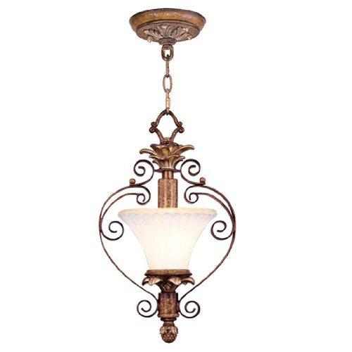 (Livex Lighting 8421-57 Savannah 1 Light Venetian Patina Finish Flush Mount/Chain Hung Mini Pendant with Vintage carved Scavo Glass by Livex Lighting)