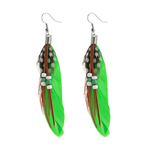 Natural Feather Jewelry Earrings (MELUOGE Bohemian Tassel Drop Earrings For Women Wedding Party Jewelry Natural Feather Dangling Earrings (Green))