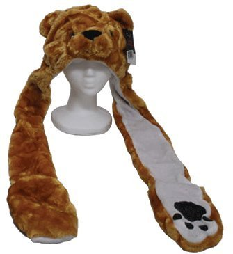 YIJUE Brown Bear Animal Hat and Muffler with Mittens (Bear Hat)