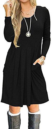 LunaJany Fariry Women Long Sleeve Pockets Pleated Loose Swing Casual Short T Shirt Dress