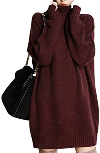 Ailaile Winter Turtleneck Cashmere Sweater Women's Long Pullover Dress Lady's Loose Thick Jumpers