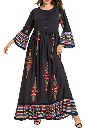 f1dab23715 UAime Women Long Sleeve Casual Maxi Dress Muslim Dress for Women Islamic  Arabian Woman Clothing Kaftan