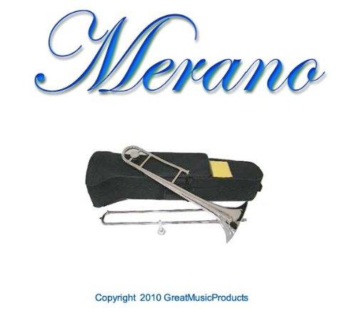 NEW Merano B Flat Silver Slide Trombone with Case+Metro Tuner+Black Music Stand by Merano