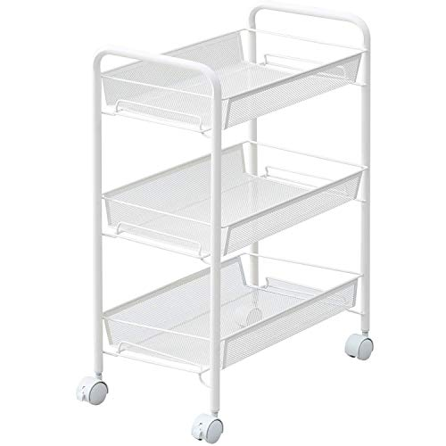 JANE EYRE 3-Tier Rolling Cart, Storage Cart Metal Utility Cart for Bathroom, Kitchen, Office, Storage on Wheels, File Cart, Storage Rack - White (White Rolling Cart Metal)
