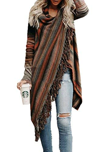 Wowfashions Women's Striped Tassel Fringe Long Sleeve Pullover Sweater Open Front Knit Cardigan Brown L