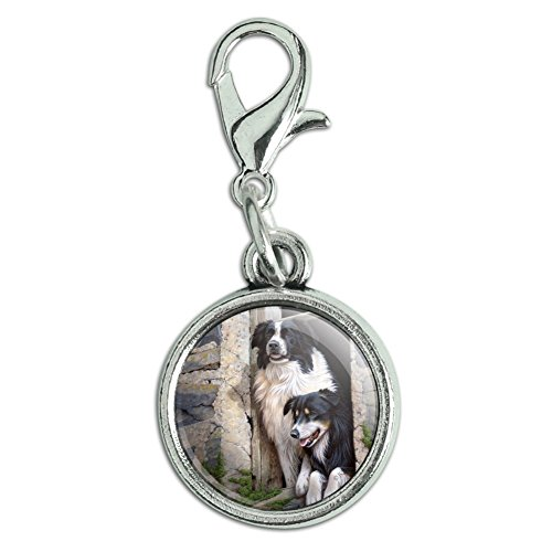 GRAPHICS & MORE Border Collies Window Dogs Antiqued Bracelet Pendant Zipper Pull Charm with Lobster Clasp