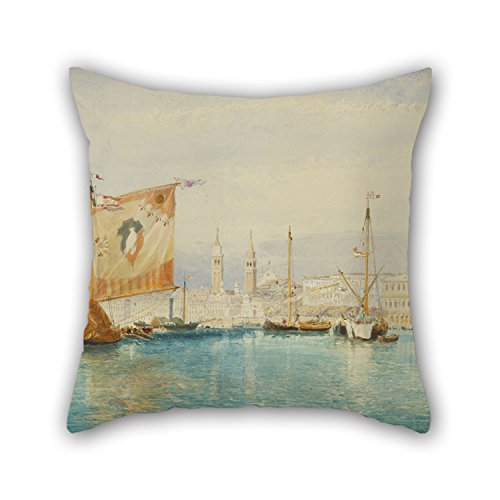Futon Venice (16 X 16 Inches / 40 By 40 Cm Oil Painting James Holland (English - The Saint Mark's Basin, Venice Pillow Cases Twin Sides Is Fit For Deck Chair Family Wedding Bf Kids Boys Father)