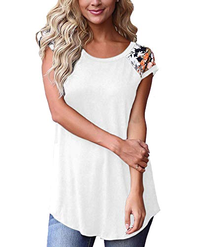 Ladies Floral Shirts Fashion Round Neck Short Sleeve Tops for Women Soft Tunics White M