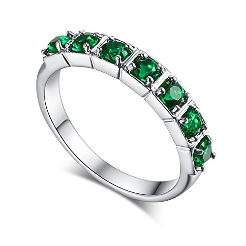 Psiroy Created Green Emerald Half Eternity Band 7 Stone Ring for Women (Green Ring Stone Cocktail)
