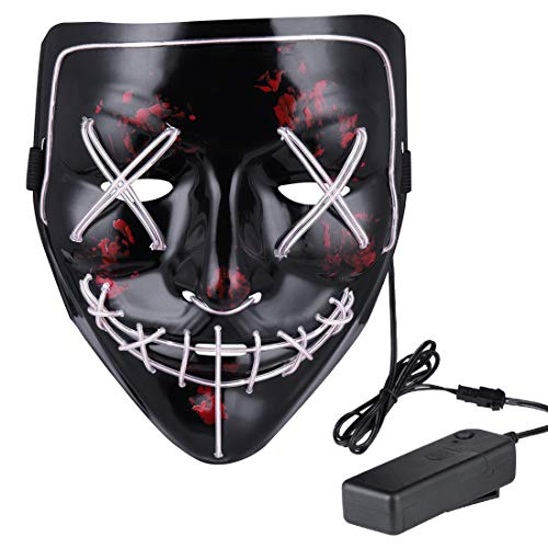 Anroll Halloween Mask LED Light Up Mask for Festival Cosplay Halloween Costume ()