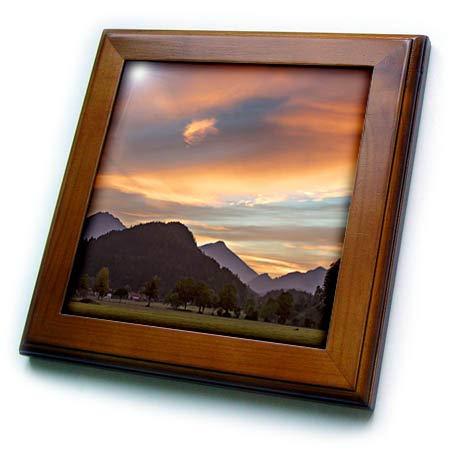 3dRose Danita Delimont - Germany - Sunset Over Foothills of Bavarian Alps Near Fussen, Bavaria, Germany - 8x8 Framed Tile (ft_313172_1)