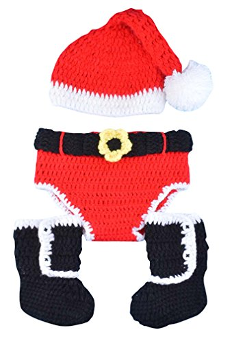 Infant Crochet Santa Claus Christmas Photograph Red Hat Underwear Black Boots Set (Baby Santa Outfit For Boy)