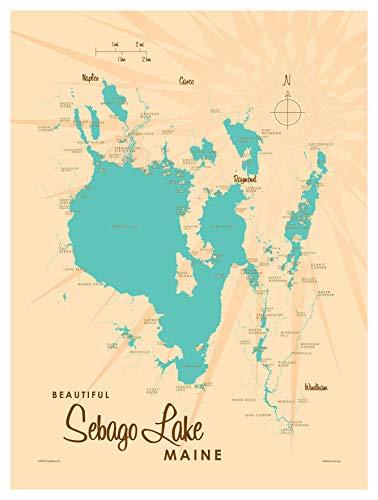 Sebago Lake Maine Vintage-Style Map Art Print Poster by Lakebound (9