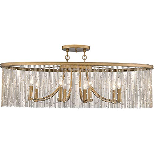 (Golden Lighting 1771-8SF-PG-PRL Marilyn 8 Light 38 inch Peruvian Gold Semi-Flushmount Ceiling Light)