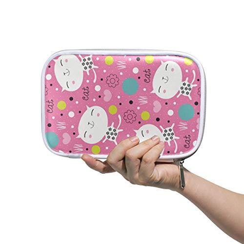 DEZIRO Endearing Kitty Multifunctional Makeup Brush Holder Organizer Bag Cosmetic Bag Case with Inner Mesh Bag for Travel