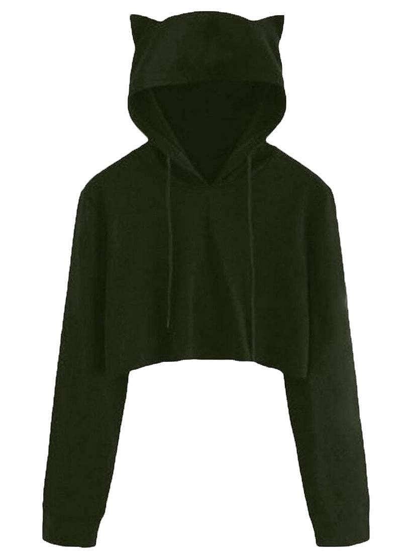 Sweatwater Womens Cat Ear Crop Top Hooded Pullover Casual Sweatshirts