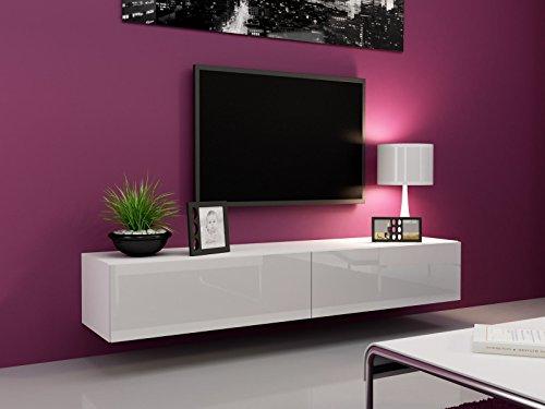 TV Board Lowboard Migo Hängeschrank Wohnwand 180cm (Weiß Matt /Weiß Hochglanz)
