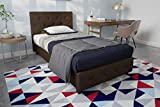 DHP Dakota Upholstered Faux Leather Platform Bed with Wooden Slat Support and Tufted Headboard and Footboard, Twin Size - Brown