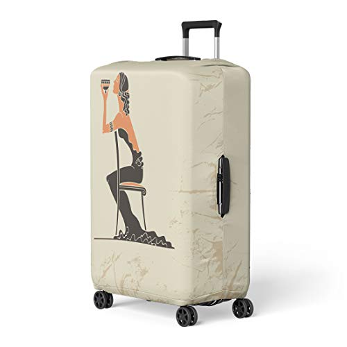 Semtomn Luggage Cover Girl Glass of Wine in the Woman Long Black Travel Suitcase Cover Protector Baggage Case Fits 26-28 Inch