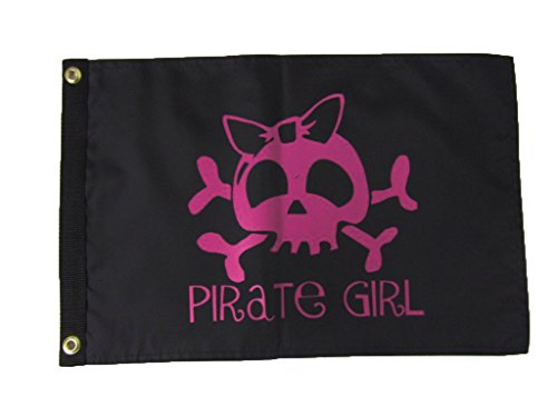 Pink Pirate Flag (12x18 Pirate Jolly Roger Girl Pink Skull Double Sided Nylon Flag 12