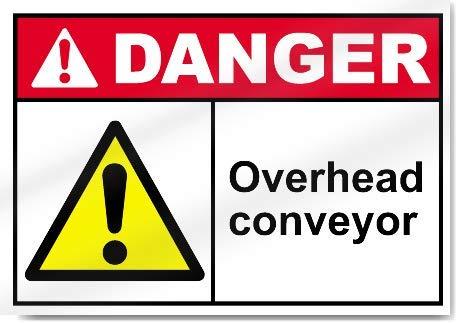 Yilooom Overhead Conveyor Warning Sticker Vinyl Sign Label Alert Decal Sticker 7 X 10 Inch