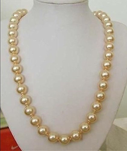 12mm AAA gold-color South Sea Shell pearl necklace 24' beads Hand Made Girl jewelry making Natural Stone YE2080 Wholesale Price QISHIJIE