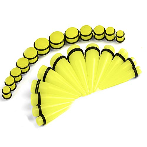 BodyJ4You 24PC Big Gauges Kit Ear Stretching 00G-20mm Yellow Glow Dark Acrylic Tapers Plugs Set