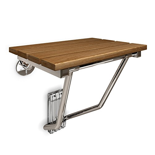 15 in. x 12.875 in. Natural Teak Wood Folding Shower Seat in Chrome