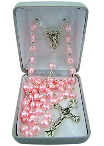 Heart Shaped Bead Necklace - Catholic Pink Heart Shaped Prayer Bead Rosary Necklace, 24 Inch