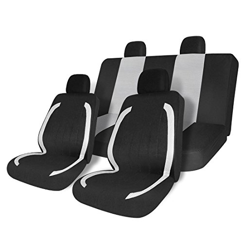 COPAP Car Seat Covers Mesh Classic Sport Style 8pcs Universal Full Set Fit Most Cars, SUVs, Trucks & Vans (Black & White)